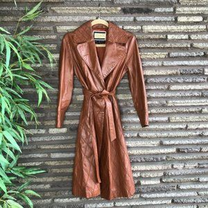 Vintage Hong Kong Caramel Leather Wrap Trench